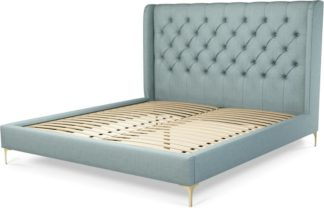 An Image of Custom MADE Romare Super King size Bed, Sea Green Cotton with Brass Legs