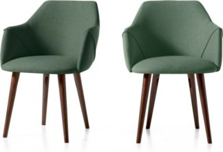 An Image of Set of 2 Lule Carver Dining Chairs, Bay Green and Walnut