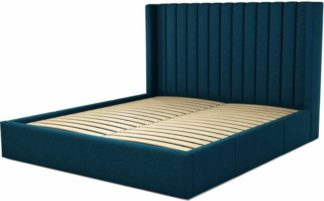 An Image of Custom MADE Cory Super King size Bed with Drawers, Navy Wool