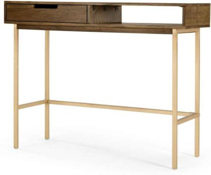 An Image of Tayma Console Table, Acacia Wood & Brass