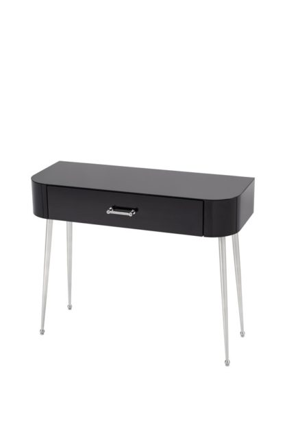An Image of Mason Black Glass Console Table – Shiny Silver Legs