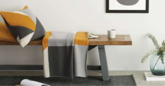 An Image of Holden Cotton Knit Throw 130 x 170cm, Yellow/Grey