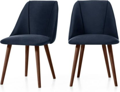 An Image of Set of 2 Lule Dining Chairs, Royal Blue Velvet and Walnut
