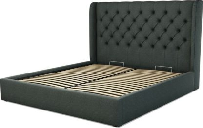 An Image of Custom MADE Romare Super King size Bed with Ottoman, Etna Grey Wool