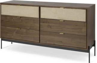 An Image of Balmore Wide Chest of Drawers, Walnut & Hessian