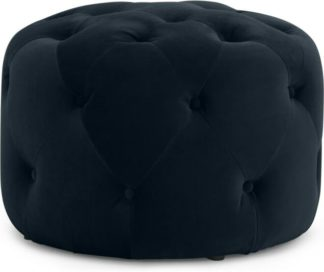 An Image of Hampton Small Round Pouffe, Twilight Blue Velvet