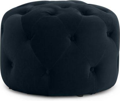 An Image of Hampton Small Round Pouffe, Twilight Blue Velvet