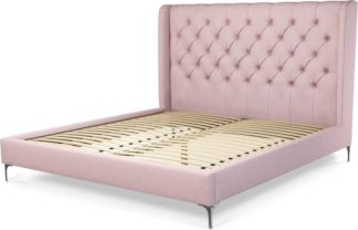 An Image of Custom MADE Romare Super King Size Bed, Tea Rose Pink Cotton with Nickel Legs