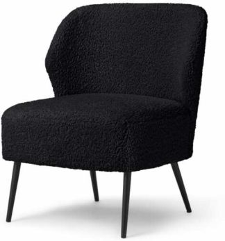 An Image of Topeka Accent Armchair, Black Faux Sheepskin
