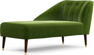 An Image of Margot Left Hand Facing Chaise Longue, Spruce Green Cotton Velvet with Dark Wood Brass Leg