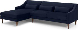 An Image of Herton Left Hand Facing Chaise End Sofa, Ink Blue Velvet