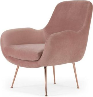 An Image of Moby Accent Armchair, Vintage Pink Velvet