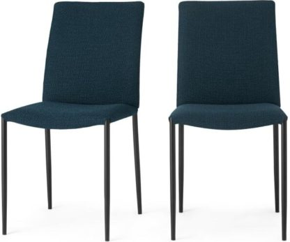 An Image of Set of 2 Braga Dining Chairs, Petrol Loop Textured Boucle