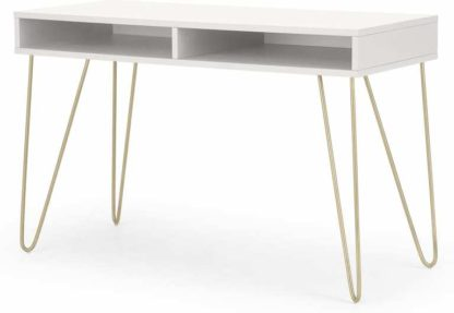 An Image of Elona Console Desk, Ivory White & Brass