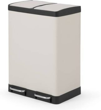 An Image of Colter 60L Soft Close Double Recycling Pedal Bin x2 30L , Cool Grey