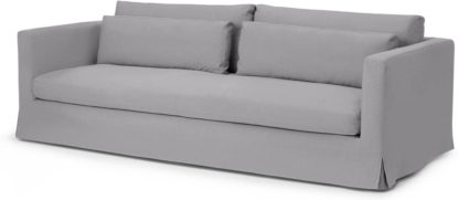 An Image of Arabelo 4 Seater Loose Cover Sofa, Mineral Cotton & Linen Mix Fabric
