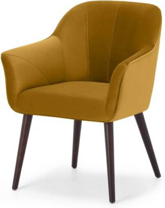 An Image of Fordell Carver Dining Chair, Mustard Velvet