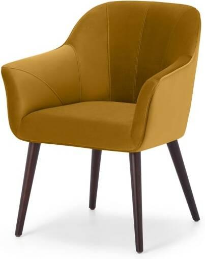 An Image of Fordell Carver Dining Chair, Mustard Velvet