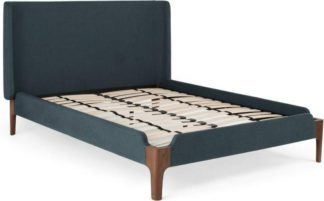 An Image of Roscoe Double Bed, Aegean Blue & Dark Stain Oak Legs