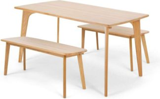 An Image of Fjord Dining Table and Bench Set, Oak