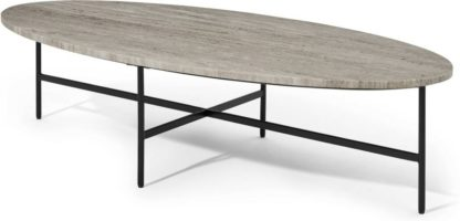 An Image of Tiziana Large Oval Coffee Table, Caramel Marble