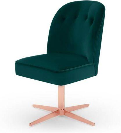 An Image of Margot Office Chair, Seafoam Blue Velvet & Copper
