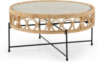 An Image of Moreno Coffee Table, Natural Cane & Glass
