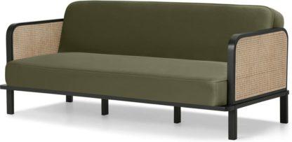 An Image of Toriko Click Clack Sofa Bed, Sycamore Green Velvet