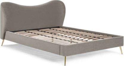 An Image of Kooper King Size Bed, Alaska Grey Velvet