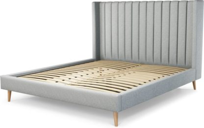 An Image of Custom MADE Cory Super King size Bed, Wolf Grey Wool with Oak Legs