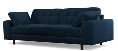 An Image of Content by Terence Conran Tobias, 3 Seater Sofa, Plush Indigo Velvet, Dark Wood Leg