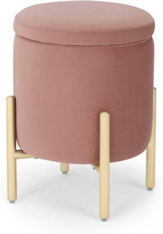 An Image of Asare Round Storage Stool, Blush Pink Velvet