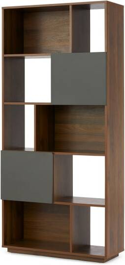 An Image of Hopkins Narrow Bookcase, Walnut Effect & Grey