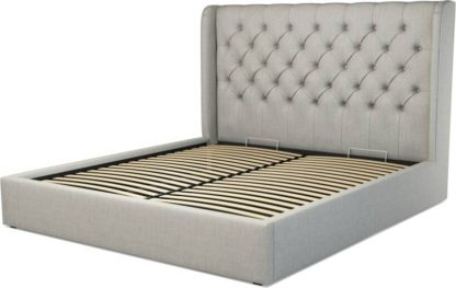 An Image of Custom MADE Romare Super King size Bed with Ottoman, Ghost Grey Cotton