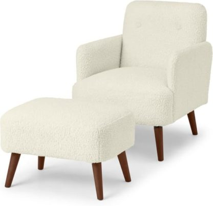 An Image of Elvi Accent Armchair and Footstool, Faux Sheepskin