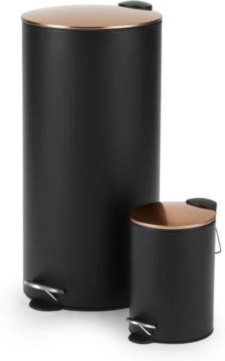 An Image of Cross Flat Top 27L & 3L Pedal Bin, Black & Copper