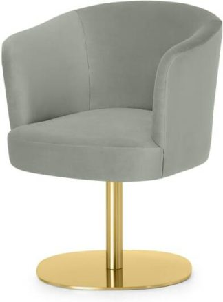 An Image of Revy Office Chair, Sage Green Velvet with Brass Leg