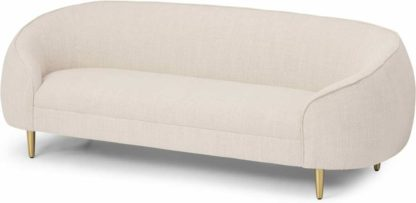 An Image of Trudy 3 Seater Sofa, Oatmeal Loop Textured Fabric