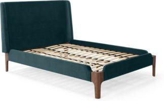 An Image of Roscoe King Size Bed, Steel Blue Velvet & Dark Stain Oak Legs