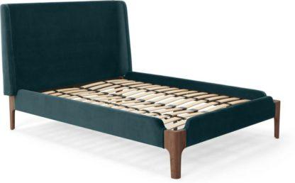 An Image of Roscoe Double Bed, Steel Blue Velvet & Dark Stain Oak Legs