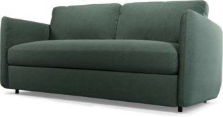 An Image of Fletcher 3 Seater Sofabed with Memory Foam Mattress, Woodland Green