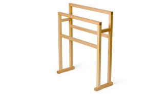 An Image of Wireworks Wooden Freestanding Towel Rail Natural Oak Large