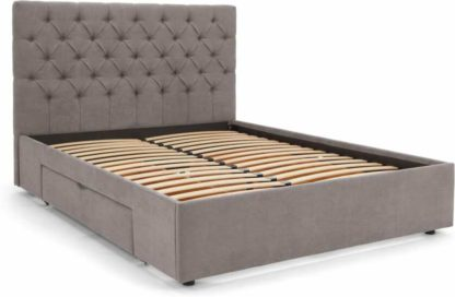 An Image of Skye King Size Bed with Storage Drawers, Pewter