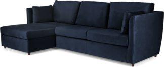 An Image of Milner Left Hand Facing Corner Storage Sofa Bed with Foam Mattress, Regal Blue Velvet