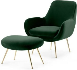 An Image of Moby Accent Armchair and Footstool, Pine Green Velvet