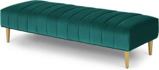 An Image of Amicie Ottoman Bench, Seafoam Blue Velvet