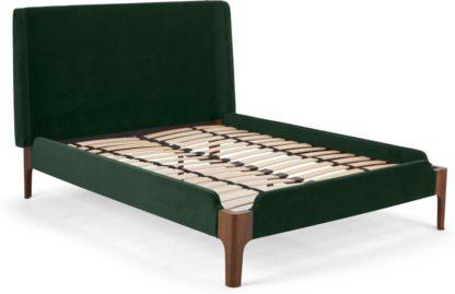 An Image of Roscoe King Size Bed, Pine Green Velvet & Dark Stain Oak Legs