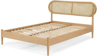 An Image of Reema Double Bed, Cane & Oak