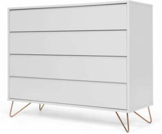 An Image of Elona Chest Of Drawers, Light Grey and Copper