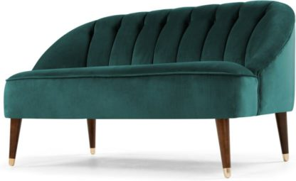 An Image of Margot 2 Seater Sofa, Peacock Blue Velvet